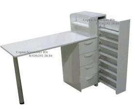 Маникюрный стол 4 ящика с выдвижной вертикальной полкой